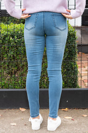 Sadie Distressed Jeans - Mid Blue