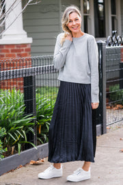 Esme Pleat Skirt - Black