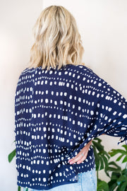 Cali Button Top - Navy/White