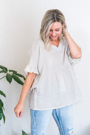 Hartley Top - Natural Linen