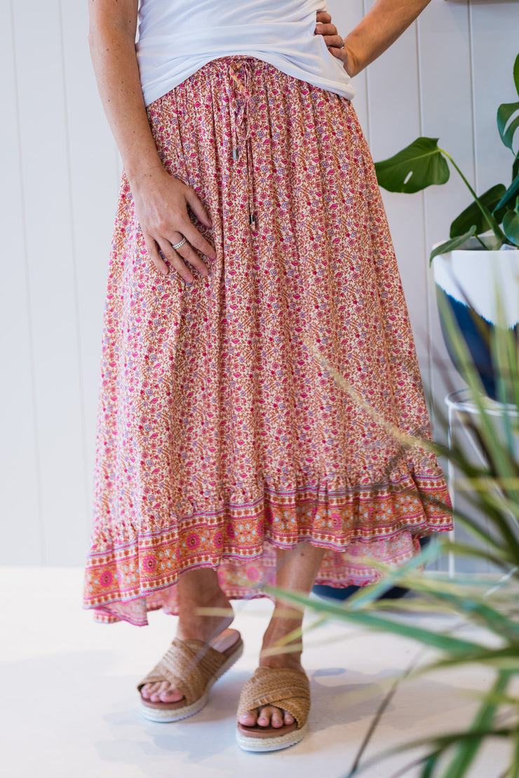 Wanderlust Skirt - Pink | Mabel and Woods | Women's Fashion