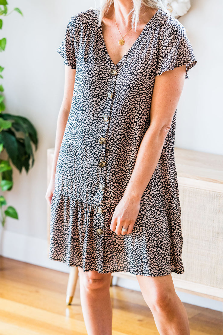 Annie Dress - Black and Nude Smudge Dot