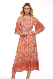 Gypsy Dress - Pink /Orange | Mabel and Woods | Women's Fashion