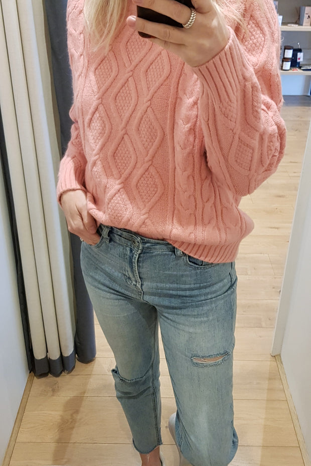 Pink Cable Knit