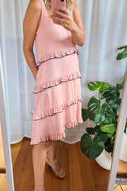 Carmen Tier Dress - Salmon