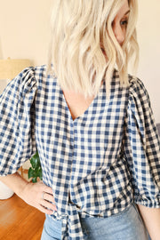 Neave Gingham Top - Teal and Cream