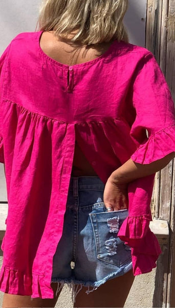 Tickled Pink Linen Top