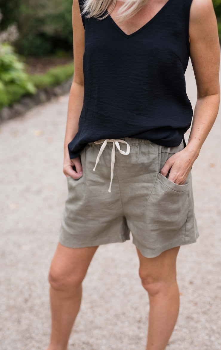 Luxe Shorts - Khaki Linen | Mabel and Woods | Women's Fashion