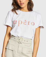 Marble Embroidered Femme Tee Apero - White/Multi