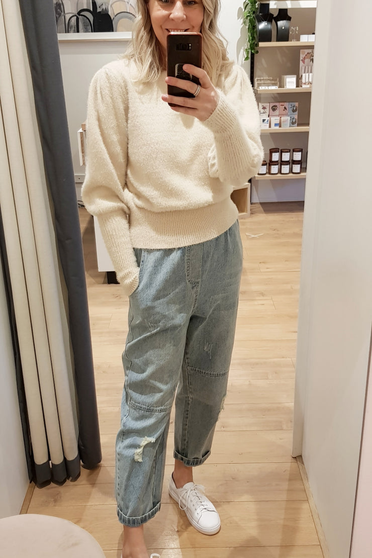 Puff Sleeve Knit - Cream