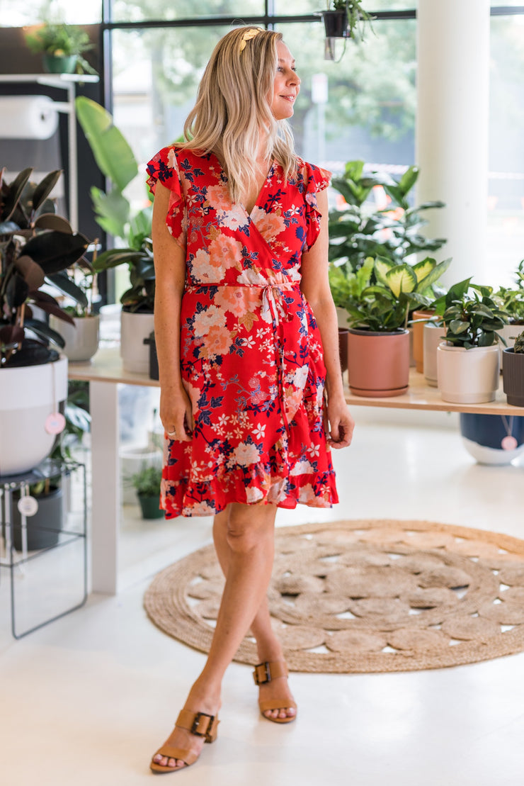 Layla Dress - Red Floral | Mabel and Woods | Women's Fashion
