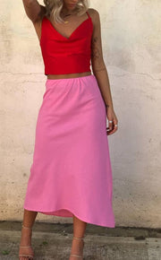 Tori Skirt - Pink Linen | Mabel and Woods | Women's Fashion