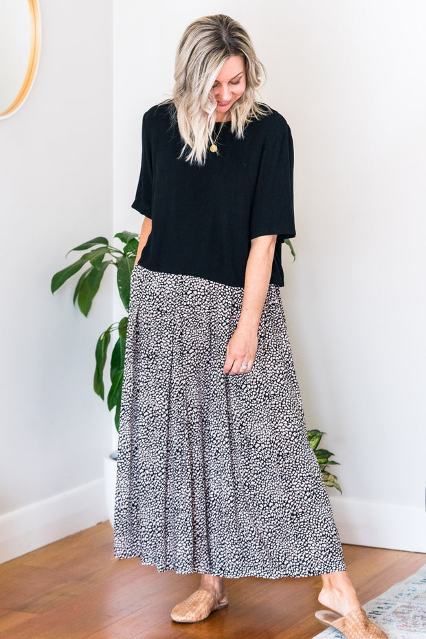 Coast Wide Leg Pant - Black and Nude Smudge Dot
