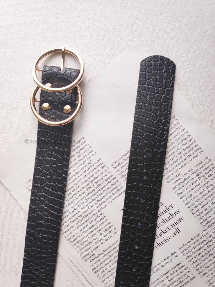 Aria Black Croc Effect Belt | Mabel and Woods | Women's Fashion
