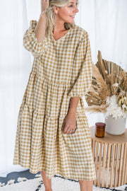 Marty Dress - Beige Gingham