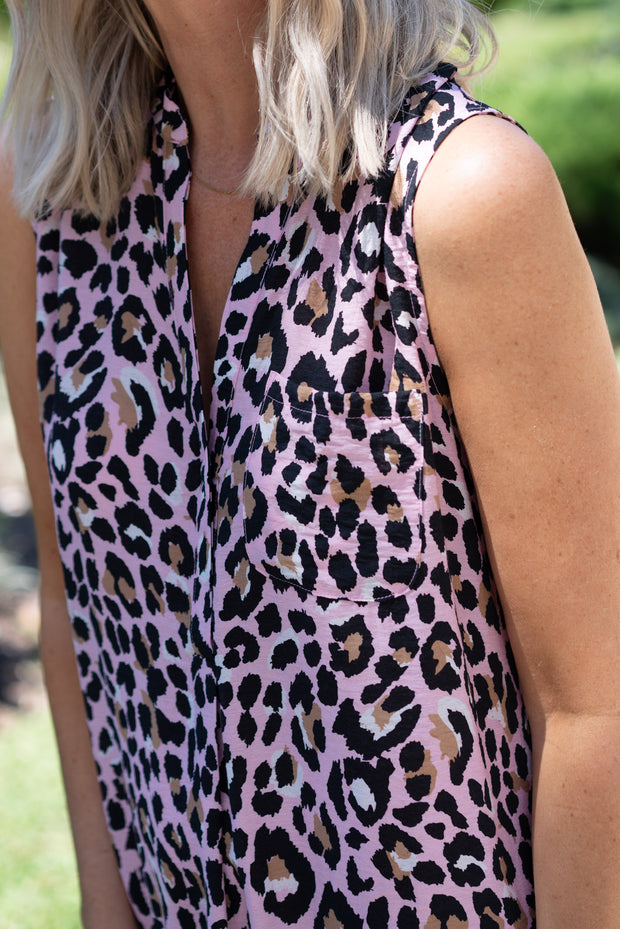 Morgan Dress - Pink Leopard