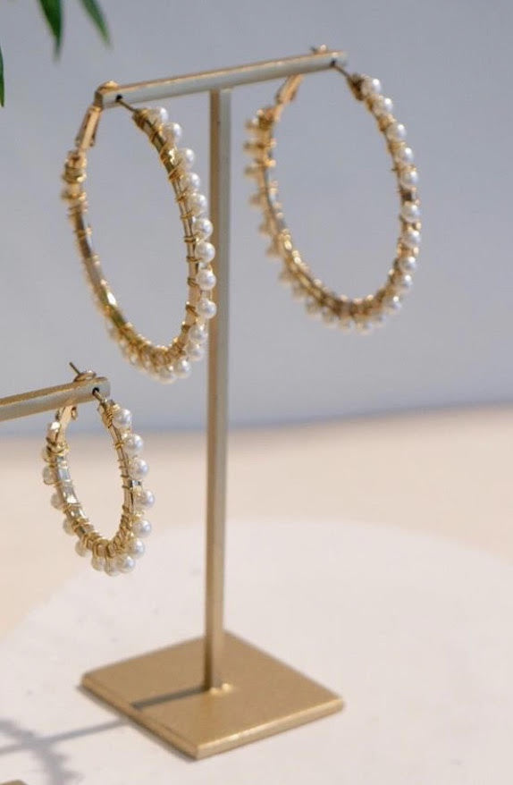Zoda Gold Hoop Earrings With Pearls | Mabel and Woods | Women's Fashion