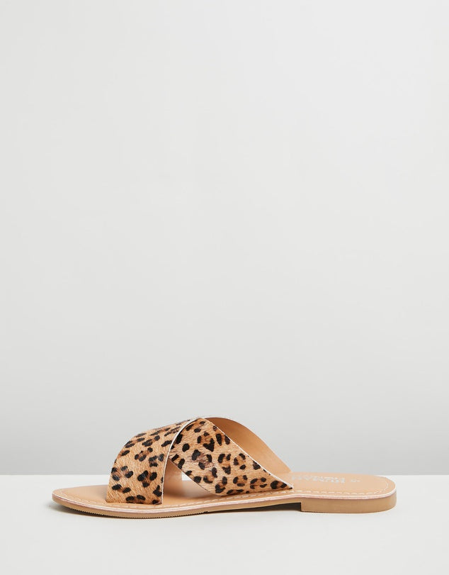 Quinn Leather Slides - Ocelot | Mabel and Woods | Women's Fashion