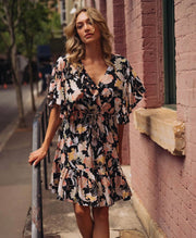 Night Out Dress - Black Floral