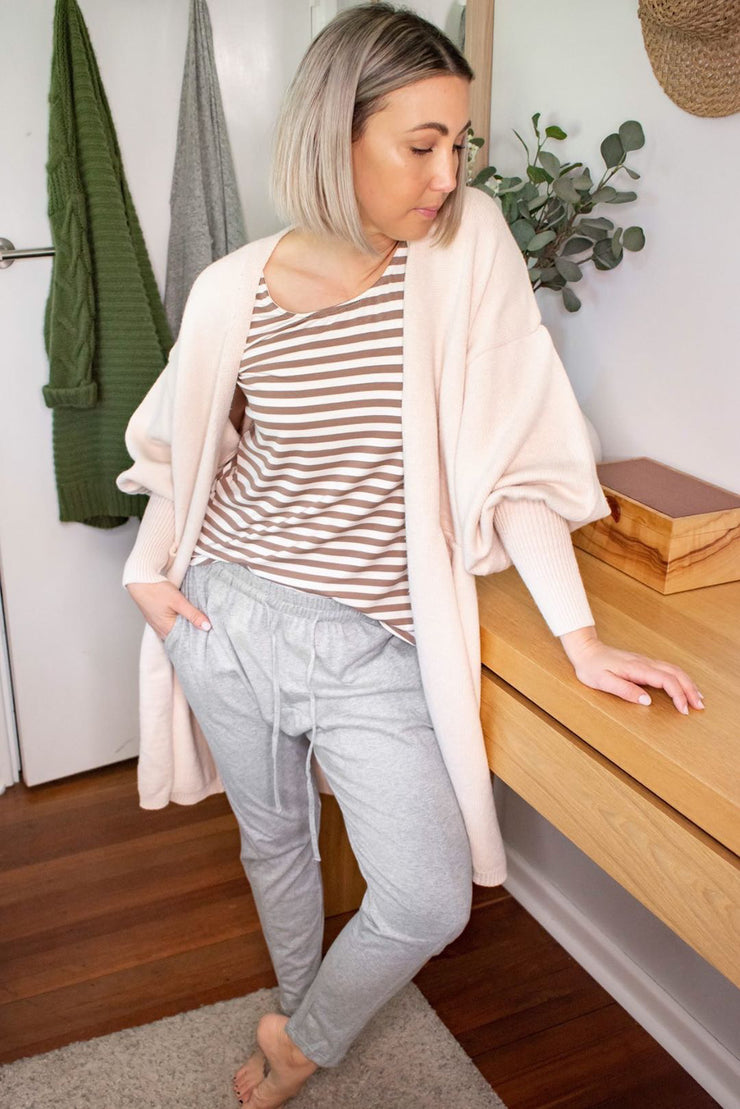 Cream Balloon Sleeve Cardigan