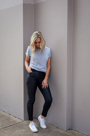 7/8 Coated Melbourne Jeans - Black | Mabel and Woods | Women's Fashion