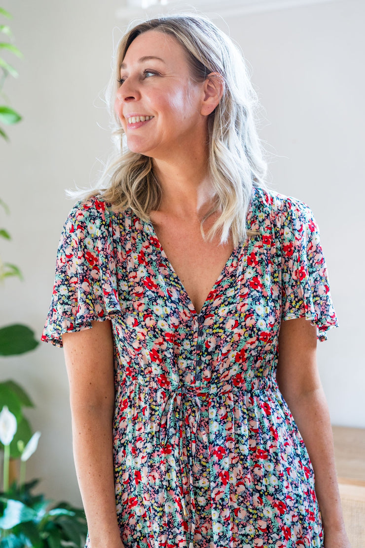 Selma Dress - Navy Floral
