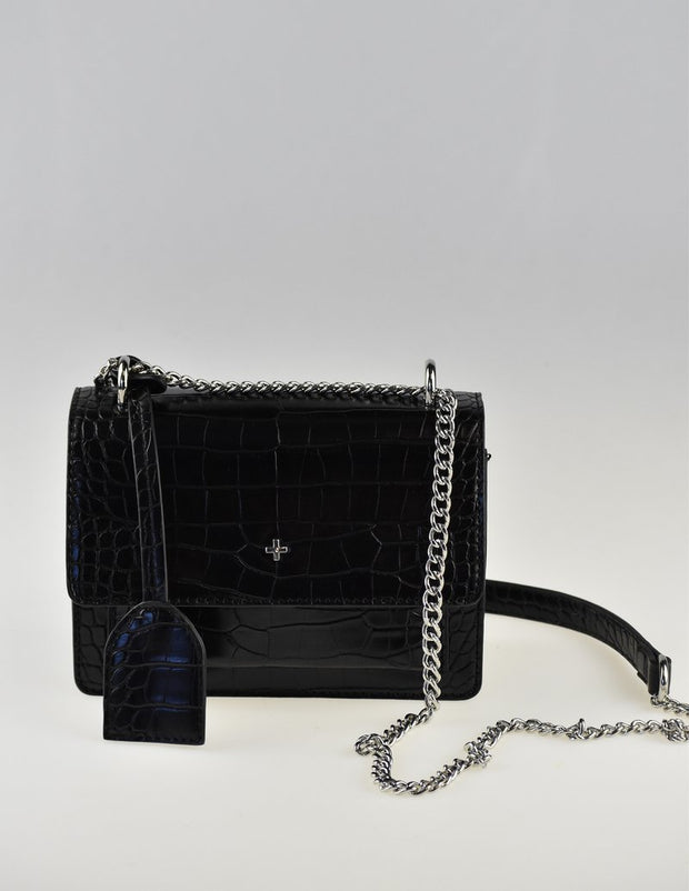 Peta & Jain Lissy Shoulder Bag - Black Croc With Chain