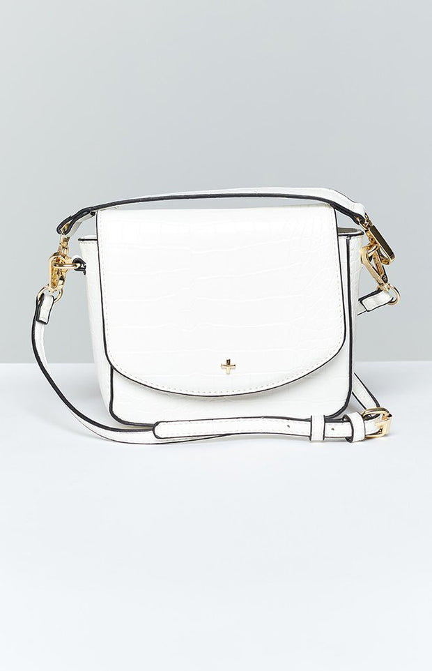 Peta And Jain Camryn White Croc X Body bag