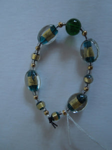 Jewelry - Green and Gold Elastic Bracelet