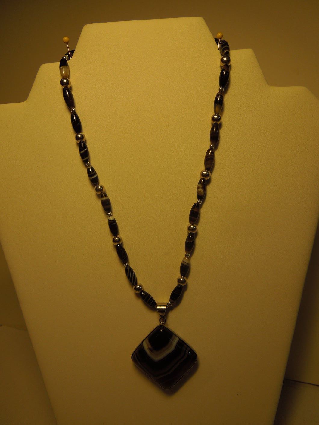 Striped Agate and Silver Beaded Necklace