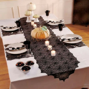 Black Lace Spider Web Bat Tablecloth