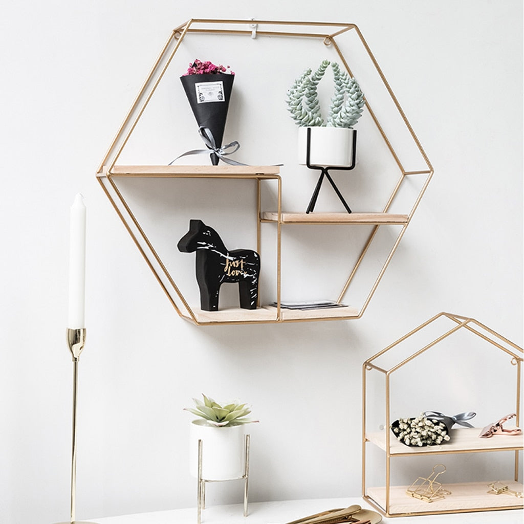 Nordic Iron Hexagonal Grid Wall Shelf Decorative Storage Rack Holder Hanging Wall Shelves Decorative Display Crafts Shelves