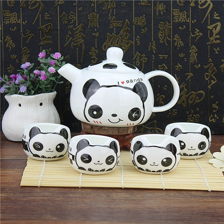 Lovely cartoon panda Coffee tea set, Chinese Style handmade ceramic pot cup 13pcs