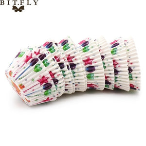 BITFLY 100Pcs Rainbow Cupcake Paper Liners Muffin Cases Cup Cake Topper Baking Tray Kitchen Accessories Pastry Decoration Tools