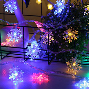 LED Garland Holiday Snowflakes String Fairy Lights Battery Powered Hanging Ornaments Christmas Tree Party Home Decor