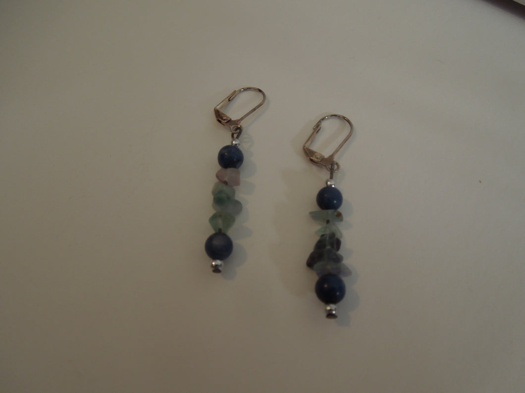 Fluorite and Lapis Earrings