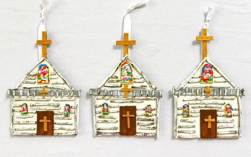 Little White Church Ornaments