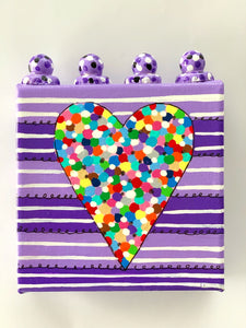 Confetti Heart on Purple Stripes