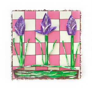 Purple Tulips on Pink and White Check