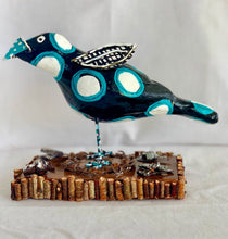 Black Bird With Turquoise And White Dots