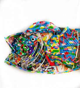 Mixed media Fish with Yellow and Blue Fins