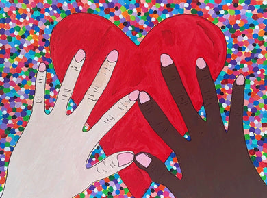 Two Hands and Big Heart on Confetti (wearable art)