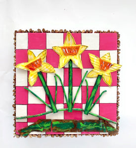 Three Daffodils and Hot Pink Checks