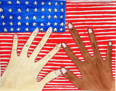 Two Hands and The Flag (wearable art)