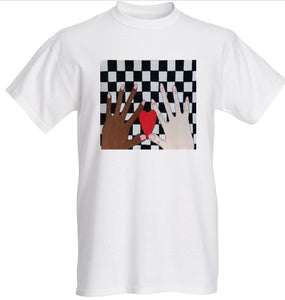Two Hands and A Red Heart on Black and White Check (wearable art)