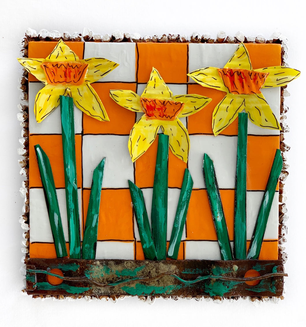 Daffodils on Orange and White Check