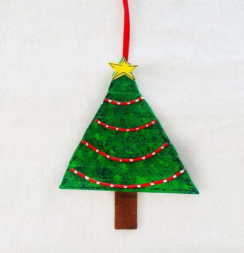 Christmas Tree Ornament with Red Garland