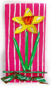 Daffodil on a Pink and White Stripes
