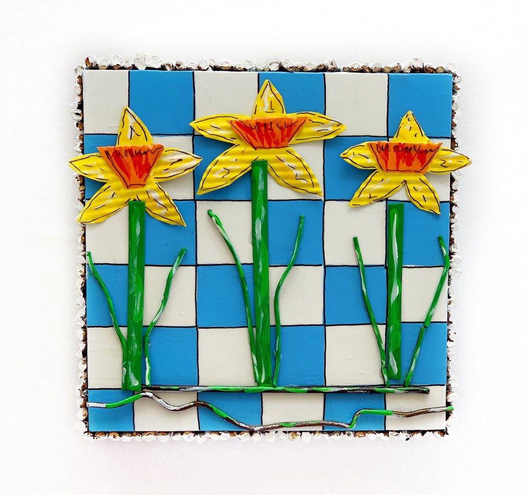 Daffodils on Blue and white