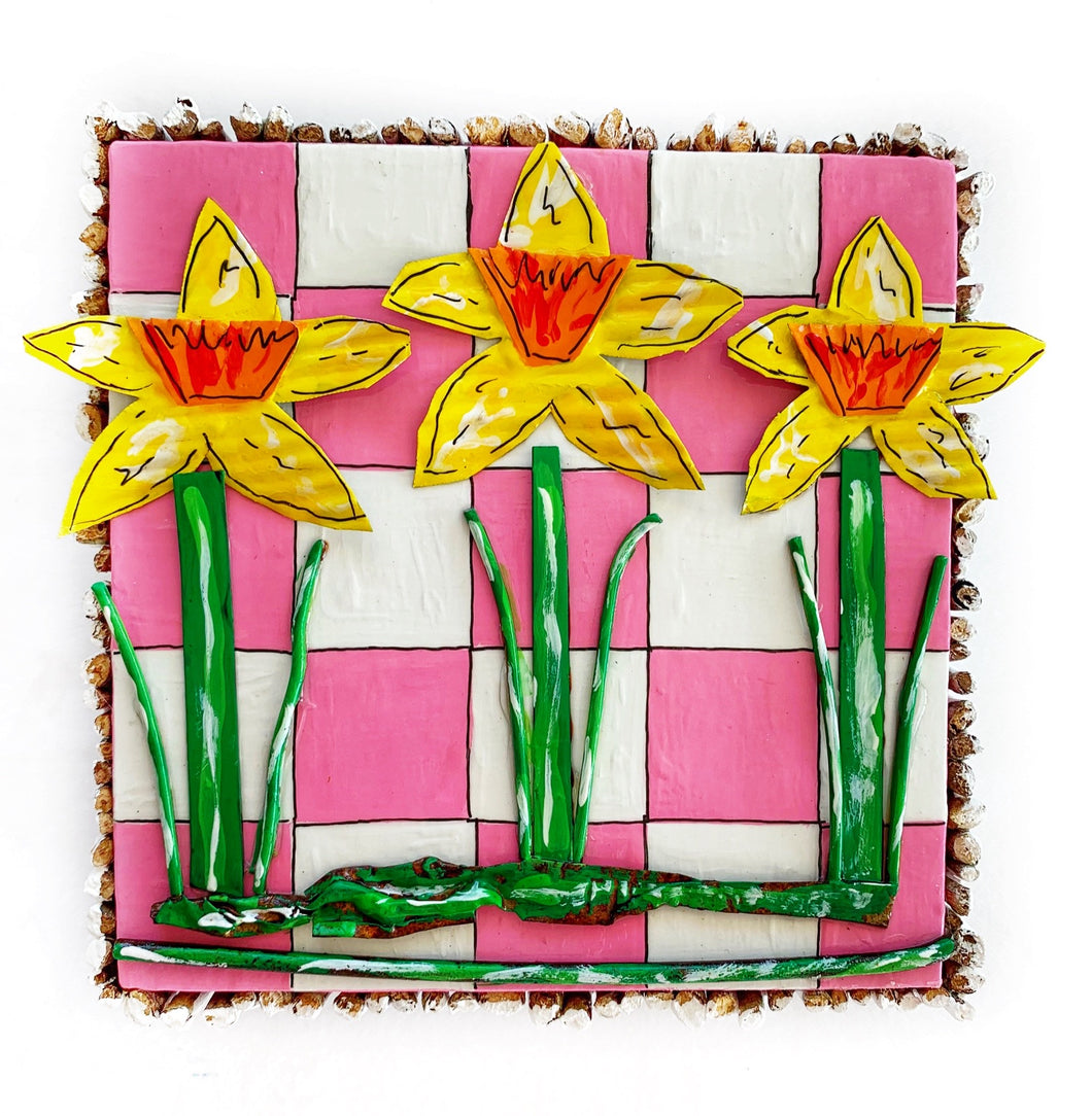 Daffodils on Pink and White